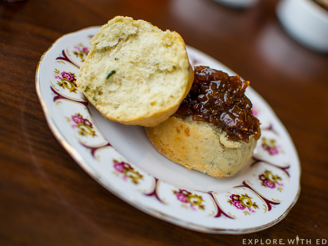 Savoury Tarragon Scone with chutney