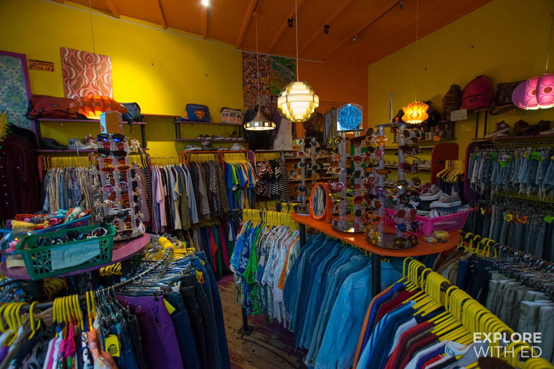 Inside Hobos Vintage clothing in High Street Arcade Cardiff