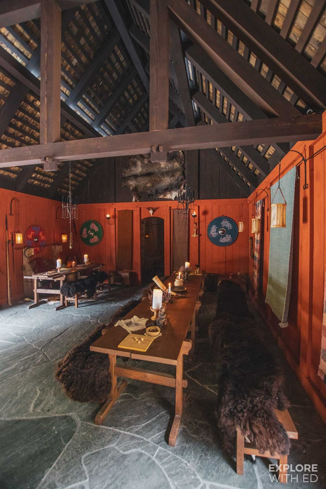 Communal dining room at the Njardarheimr Viking Valley