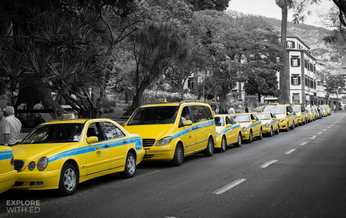 Yellow taxis in Funchal