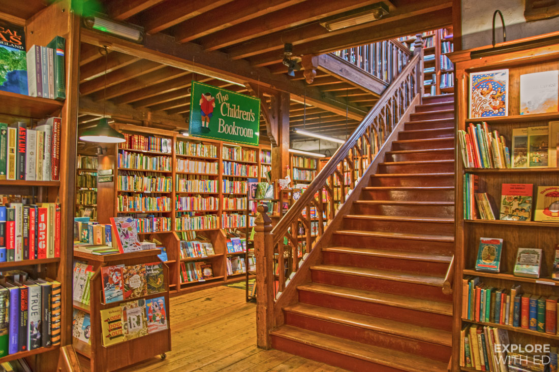 Inside Richard Booth's book shop in Hay-on-Wye, Children's book shop