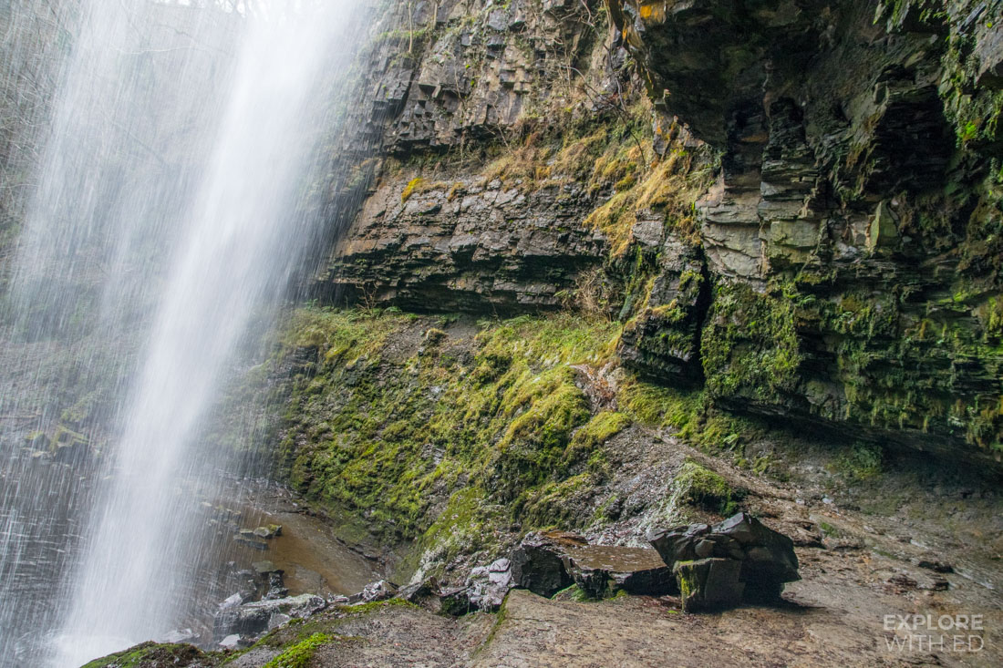 The view from behind Henrhyd Waterfall