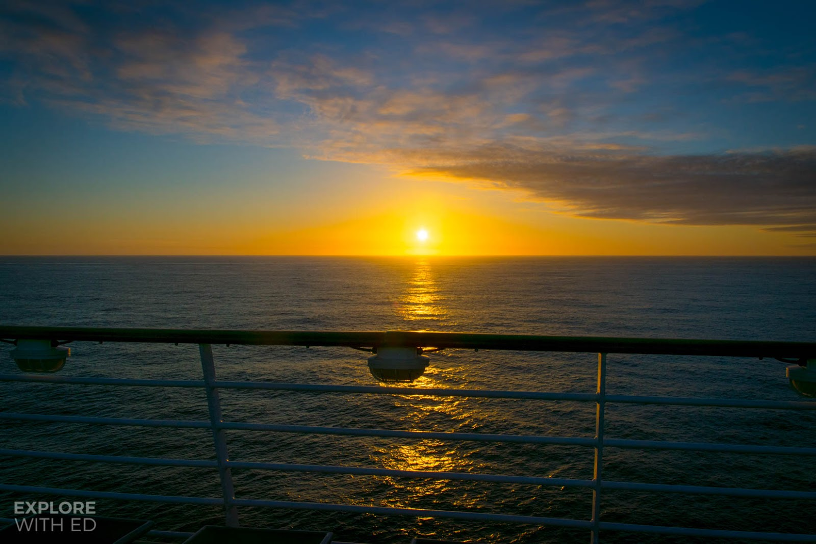 Sunset at sea on a cruise ship