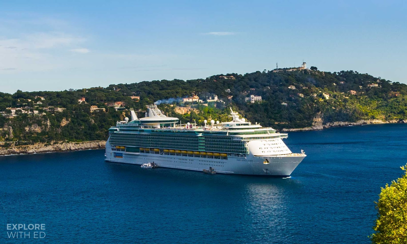 Independence of the Seas anchored off the coast of Villfrance-sur-Mer