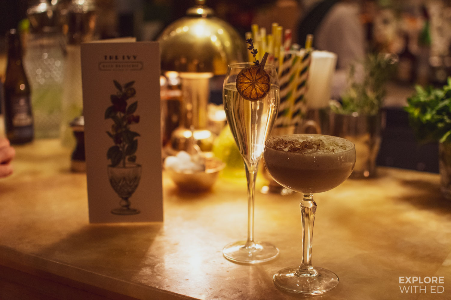 Merry Martini and Ginger Fizz cocktails at The Ivy Bath Brasserie