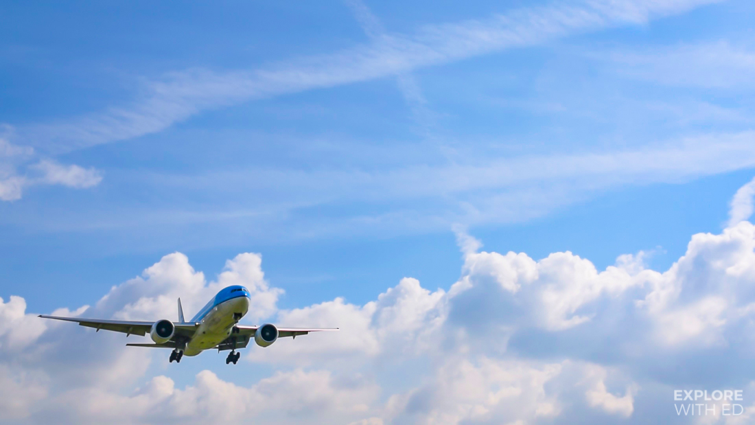 KLM aircraft landing at Schiphol