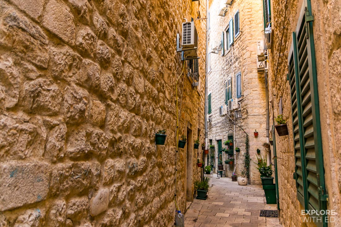 Charming narrow side street in Kotor's Old Town