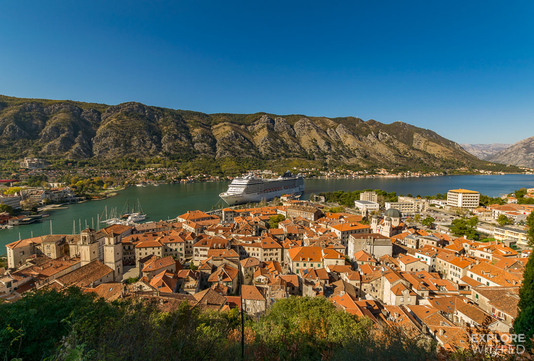 Bay of Kotor view from the hill top fortress over the old town with cruise ship docked