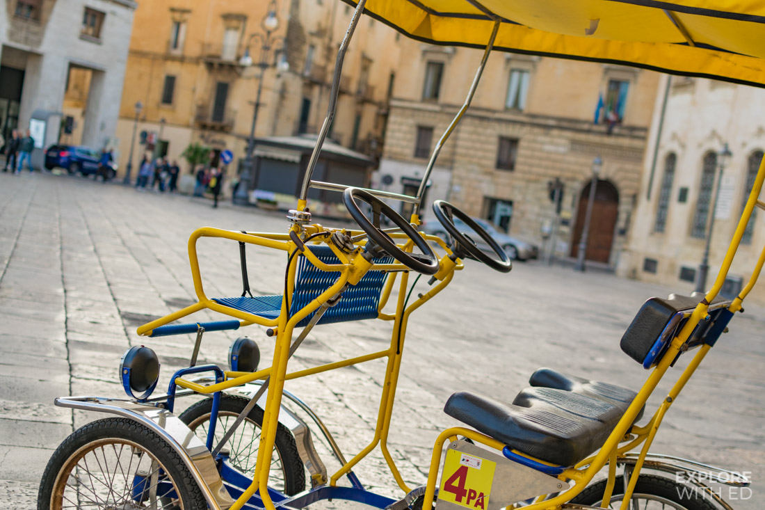 Rickshaw and bicycle hire in Lecce Italy is a fun way to explore the city