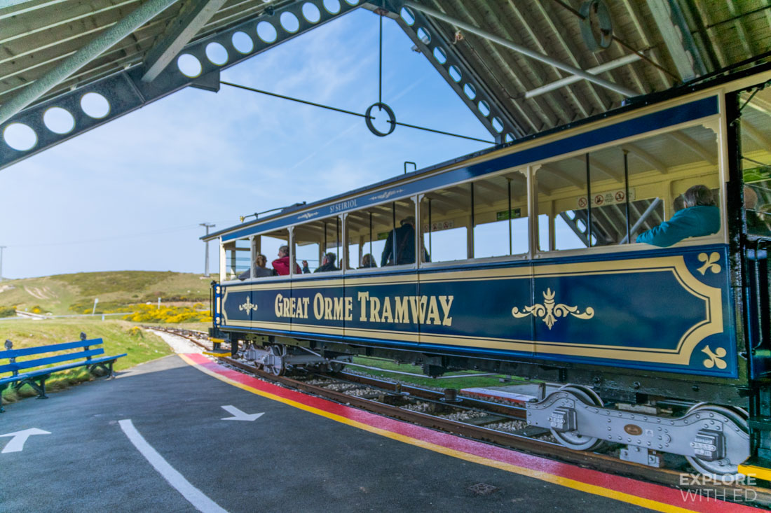 The Great Orme Tramway at the halfway station