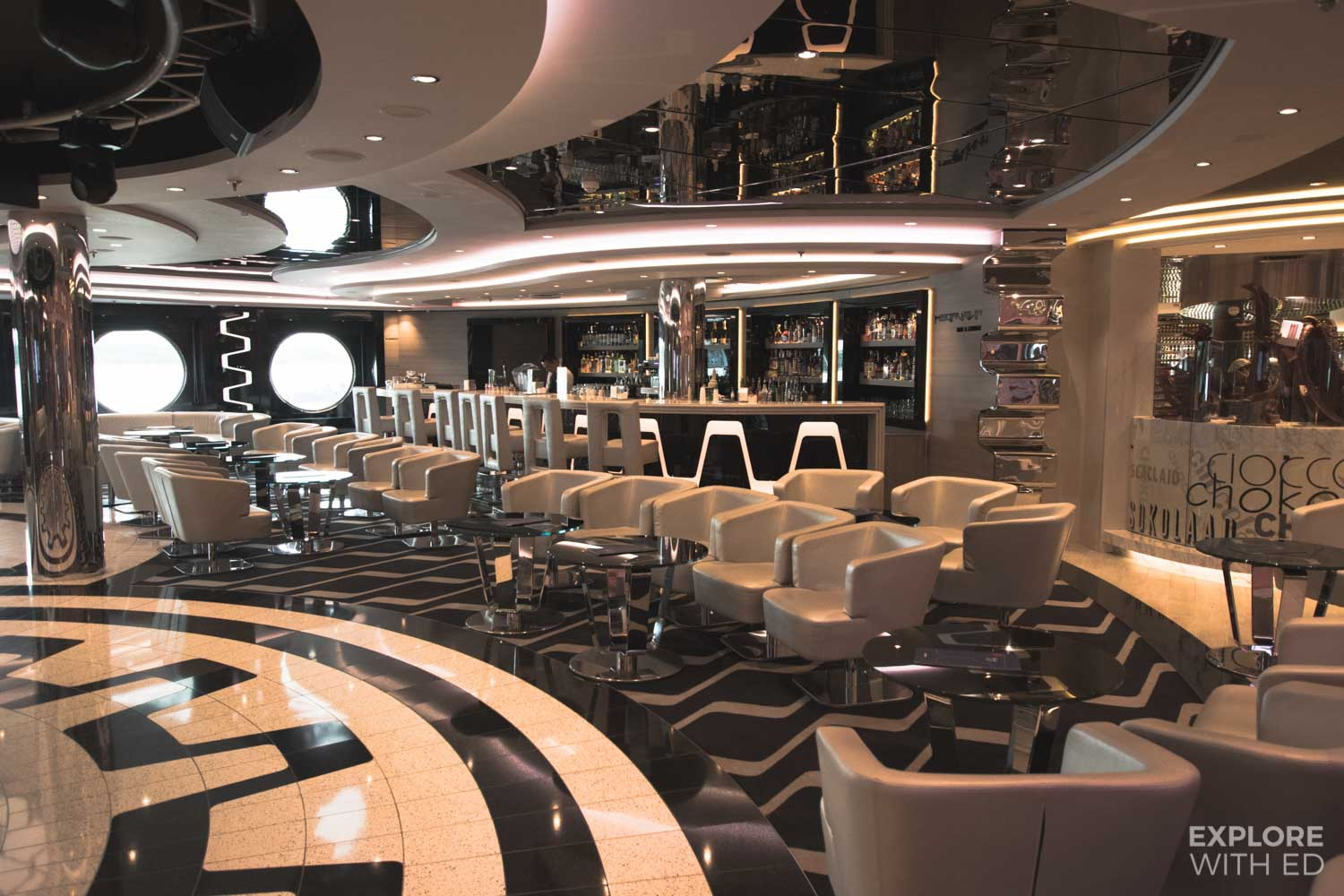 Futuristic bar on MSC Cruises