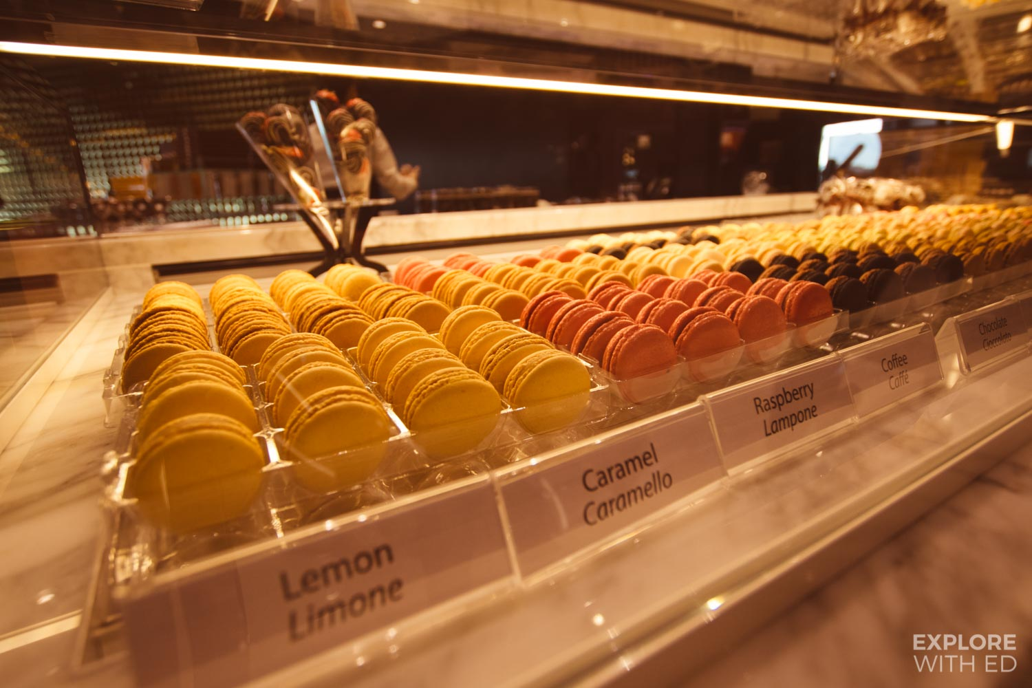 Macaroon bar and chocolate shop on MSC Meraviglia