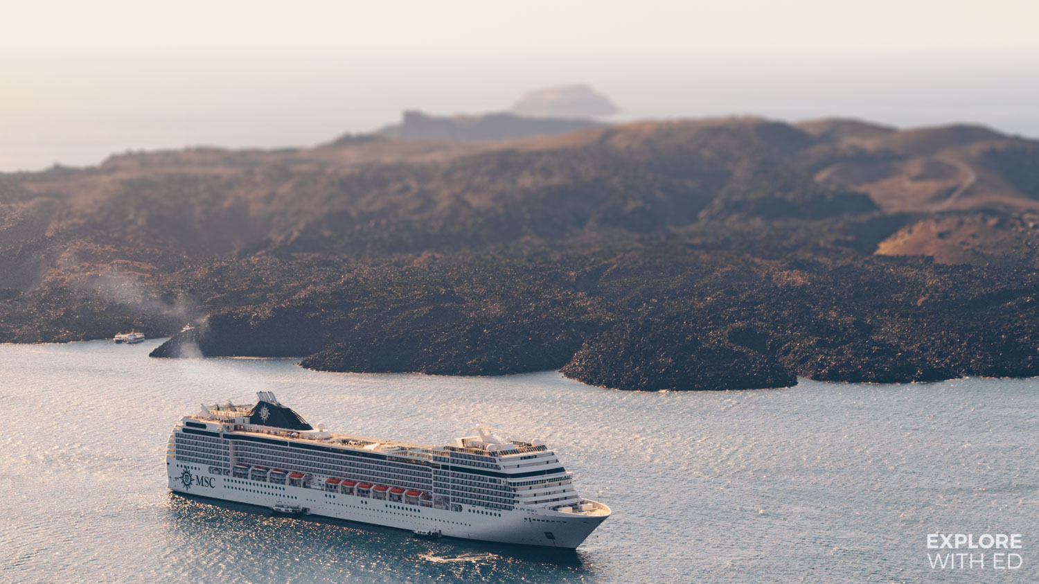 MSC Musica on an Eastern Mediterranean cruise in Santorini Greece