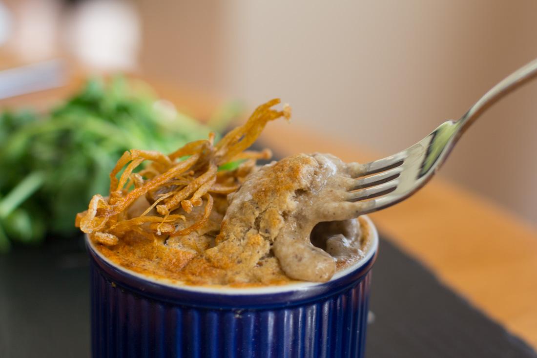 Mushroom souffle, Miss Nicklin, Coleg y Cymoedd Restaurants