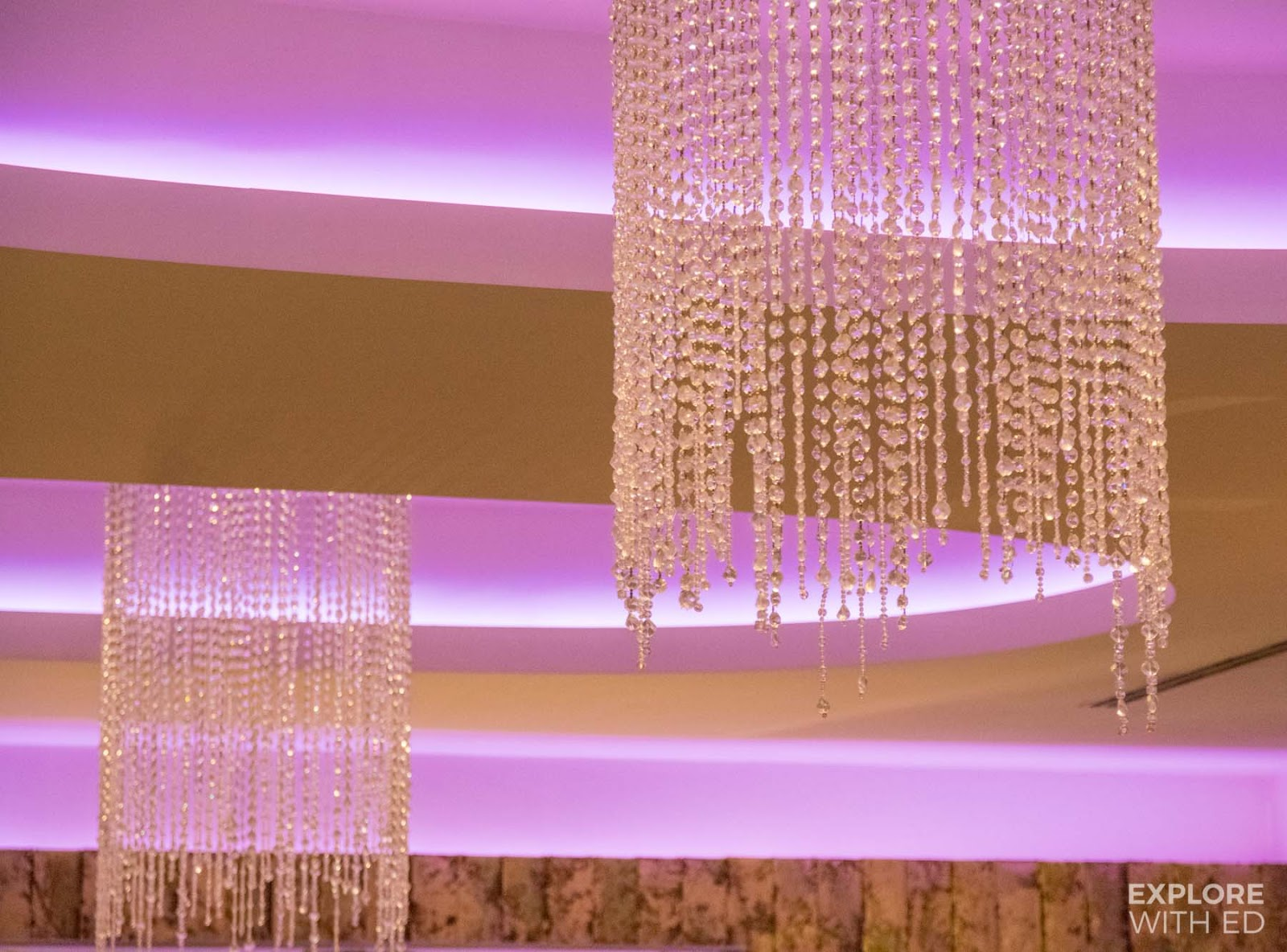 Crystal beaded ceiling light (The Mulberry Bar)