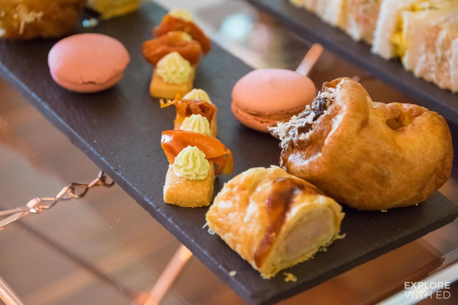 Mulberry Bar afternoon tea savouries on slate