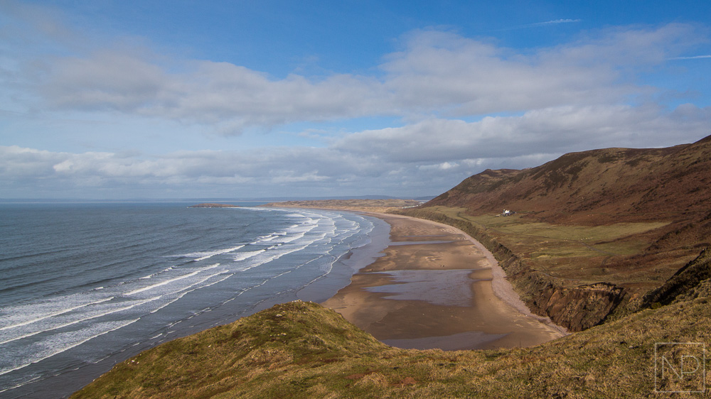 Rhossili Bay beach from headland