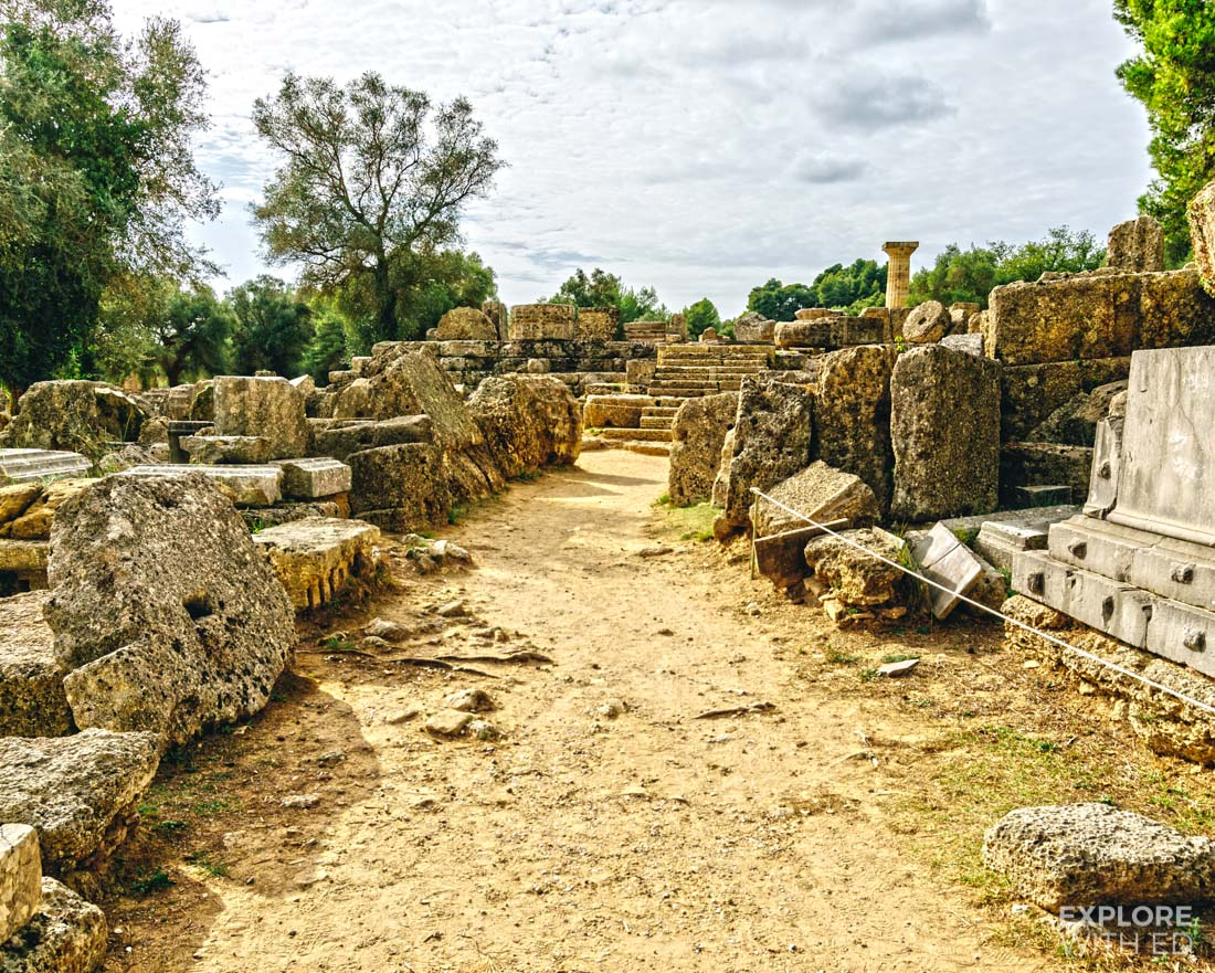 Temple of Zeus remains in Olympia