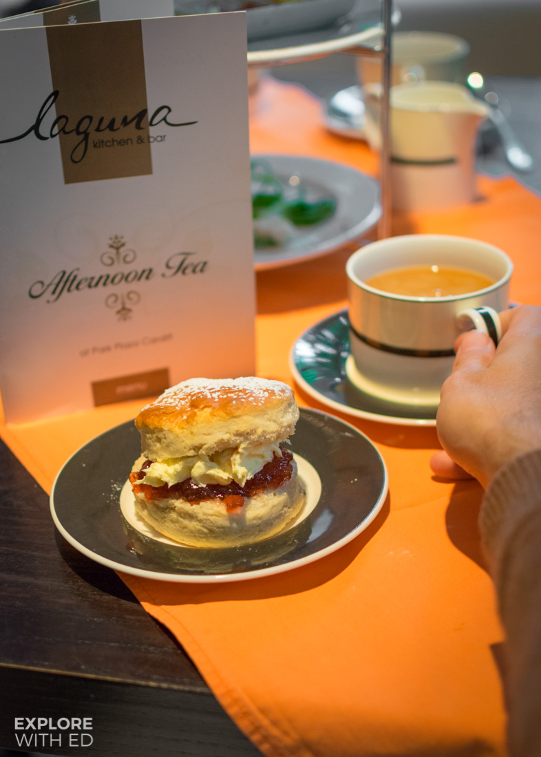Jam and clotted cream scone and tea at Park Plaza Cardiff