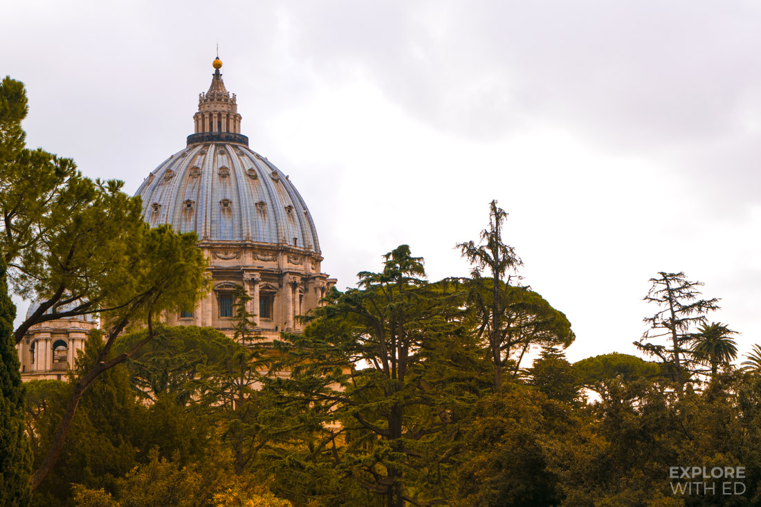 The gardens behind St Peter's Basilica in Vatican Museums