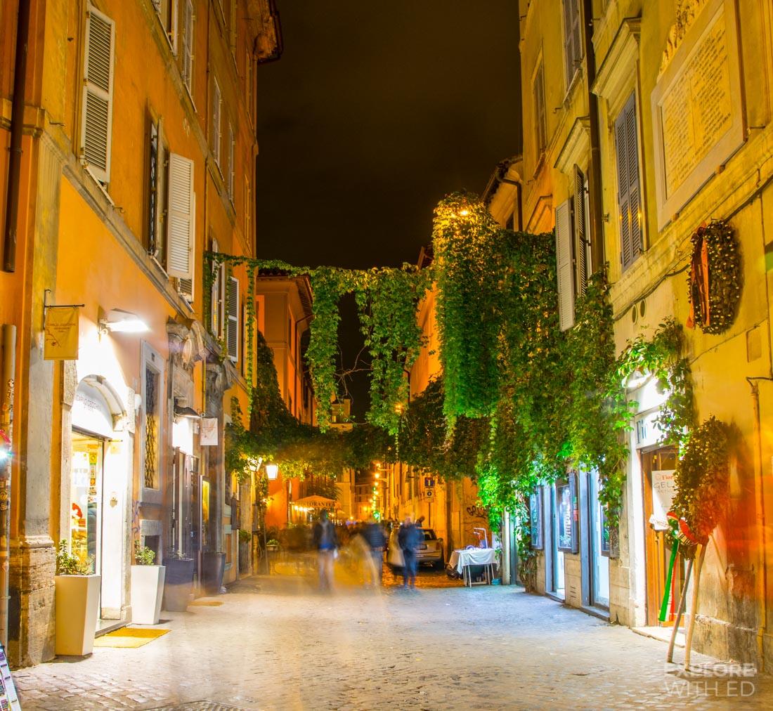 Trastevere shops at night