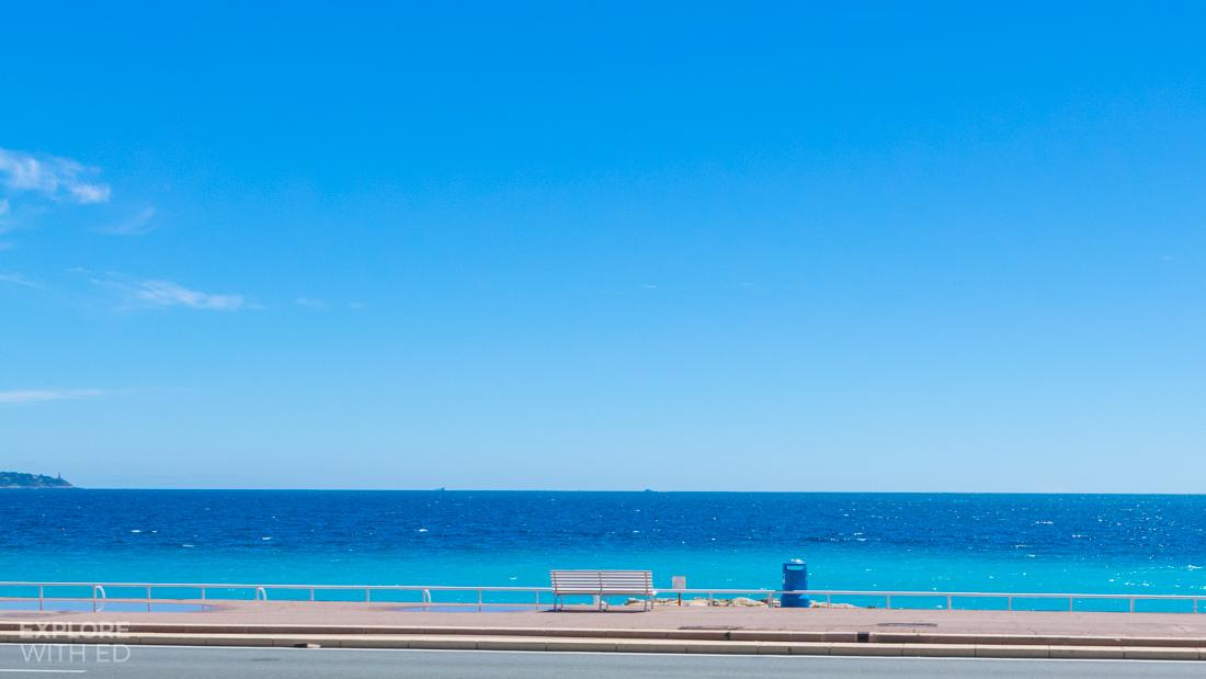 Promenade in Nice with bright blue sea
