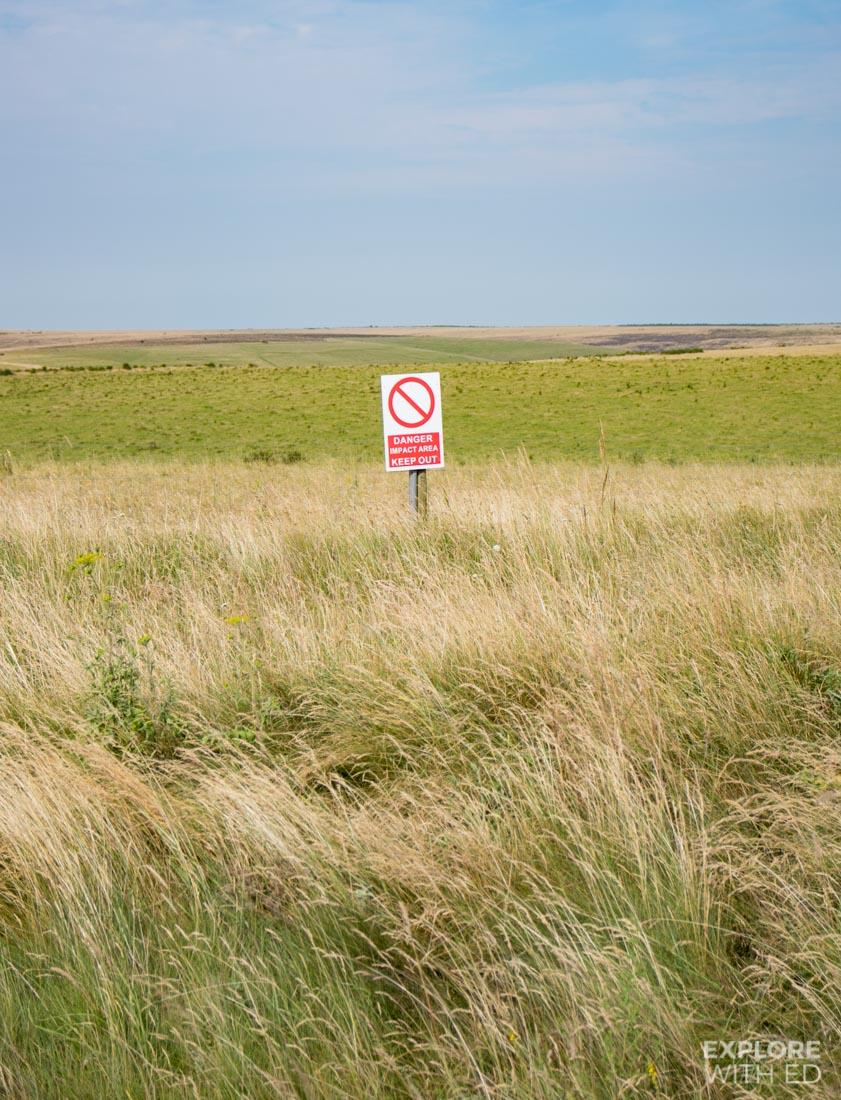 Impact area, Red flag zone on the Salisbury Plains