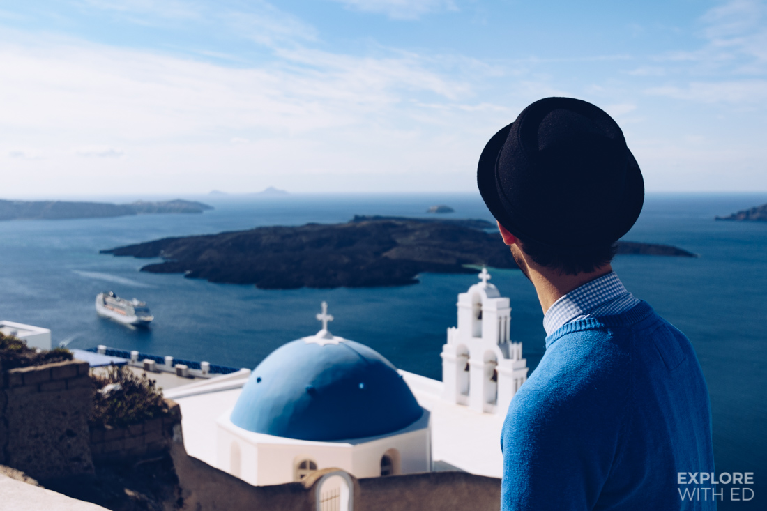 Europe travel blogger 'Explore With Ed' in Fira Santorini