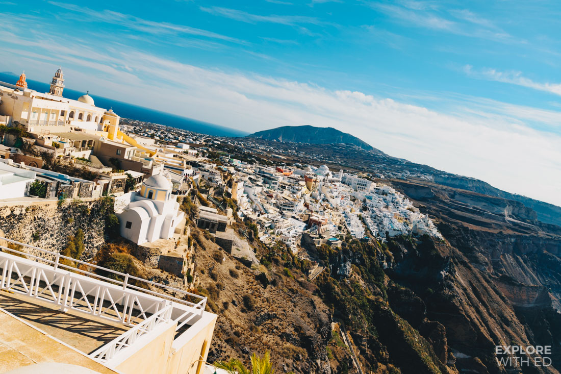 Overlooking the town of Fira on the island of Santorini
