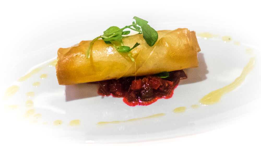 Baked goats cheese and cranberry filo pastry, A La Carte Starter at Tempus at Tides
