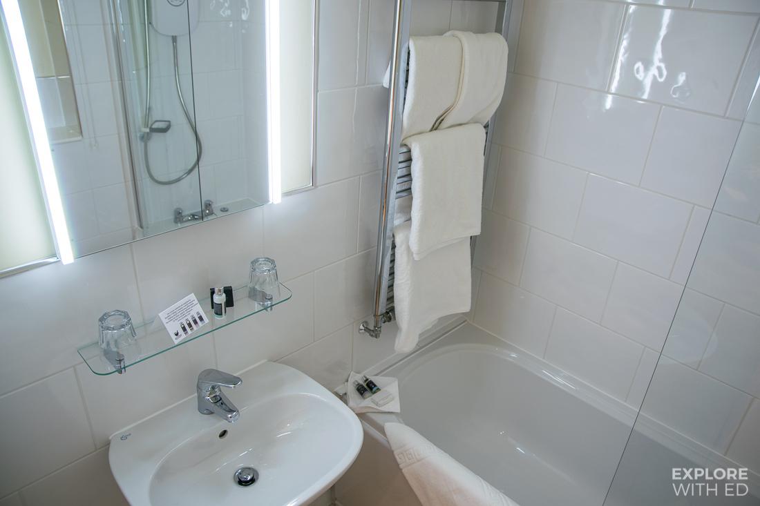 The Swan at Hay bathroom with luxury Myddfai Toiletries