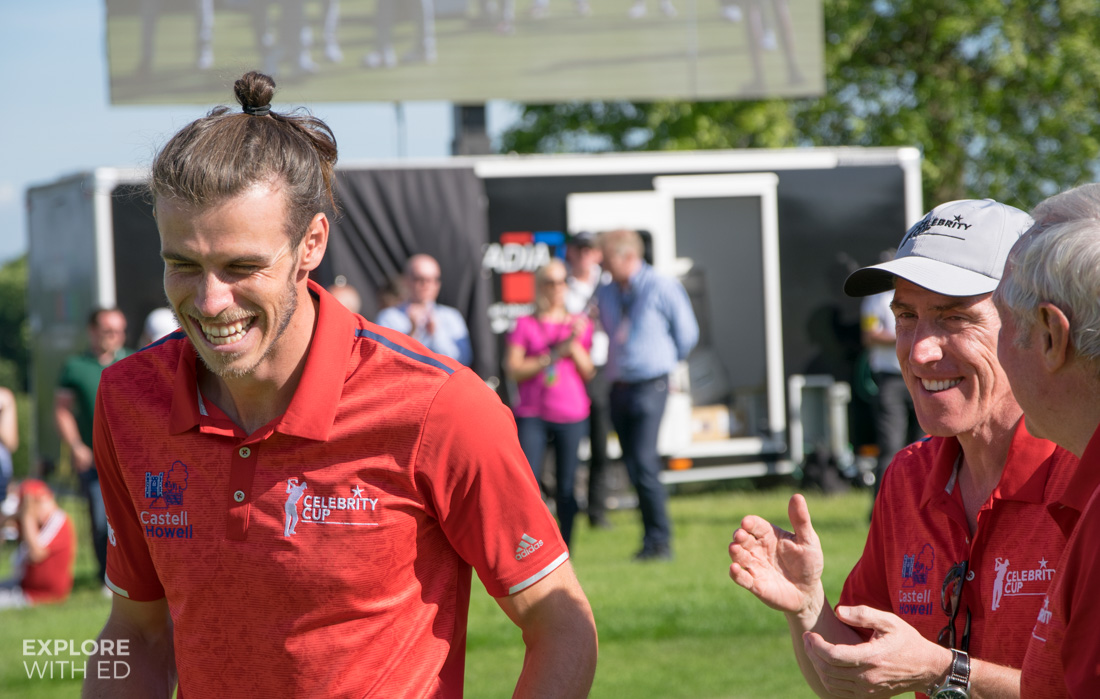 Gareth Bale laughing with Rob Brydon