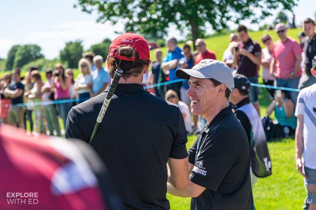 Gareth Bale and Rob Brydon at The Celebrity Cup 2017
