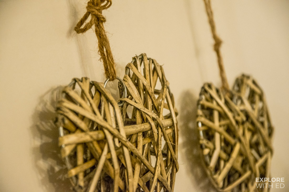 Pinned up woven hearts