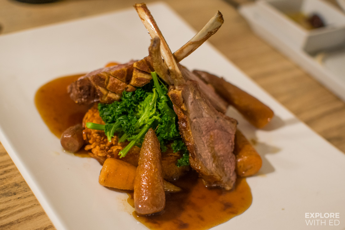 Rack of lamb special with crispy potato rosti and vegetables