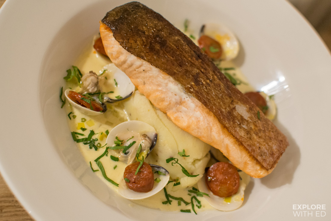 Pan Fried Salmon with mustard mash and leek, chorizo and clam sauce, the best Seafood restaurants in South Wales