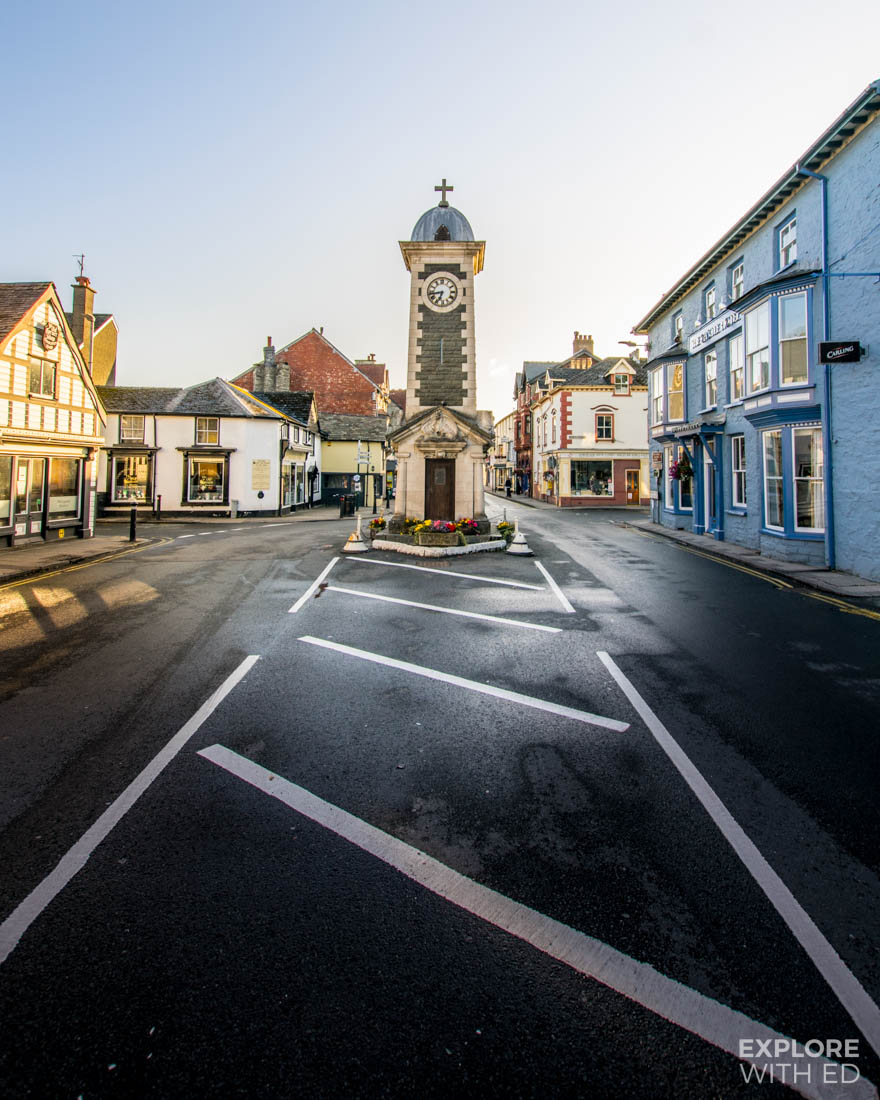 Clock tower on East Street in Rhayader, Wales