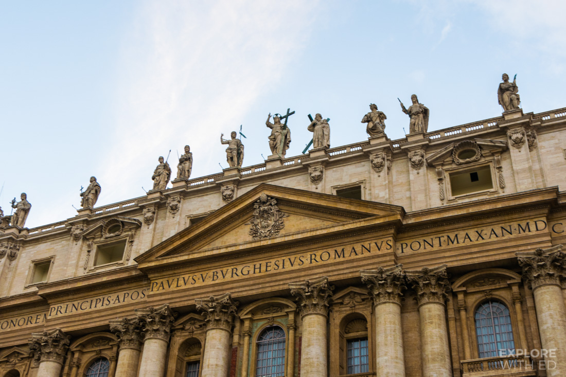 Closeup of St Peters Basilica Entrance with Sculptures
