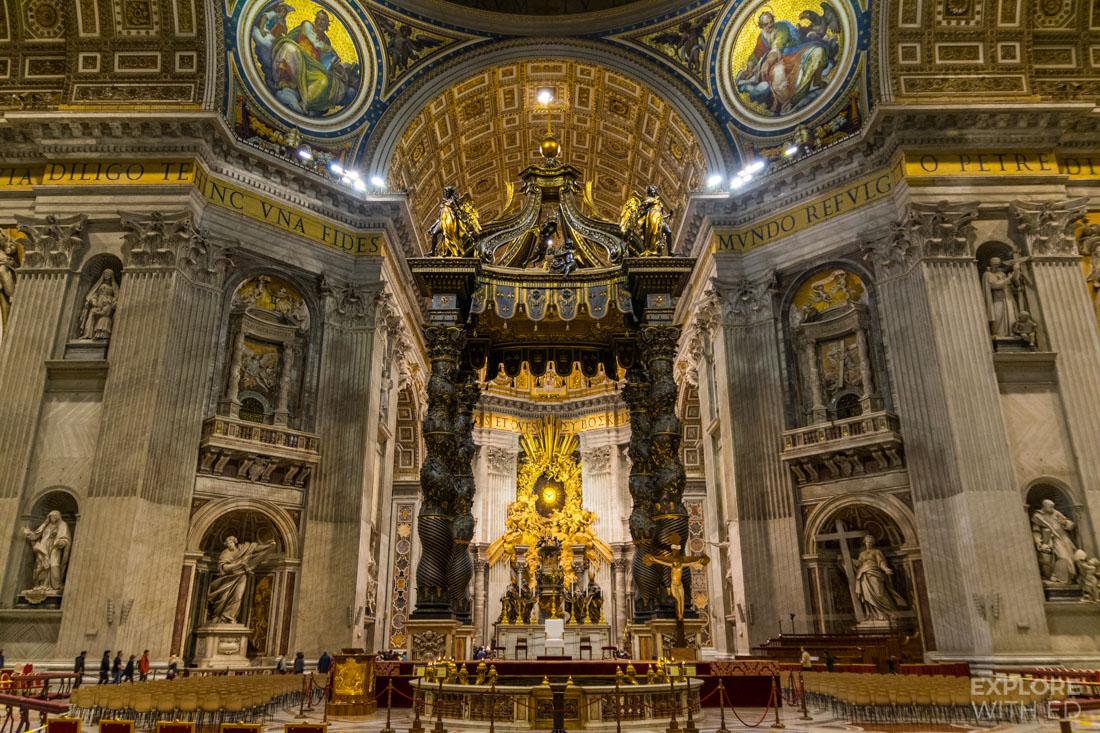 Beautiful sculptures inside Saint Peter's Basilica