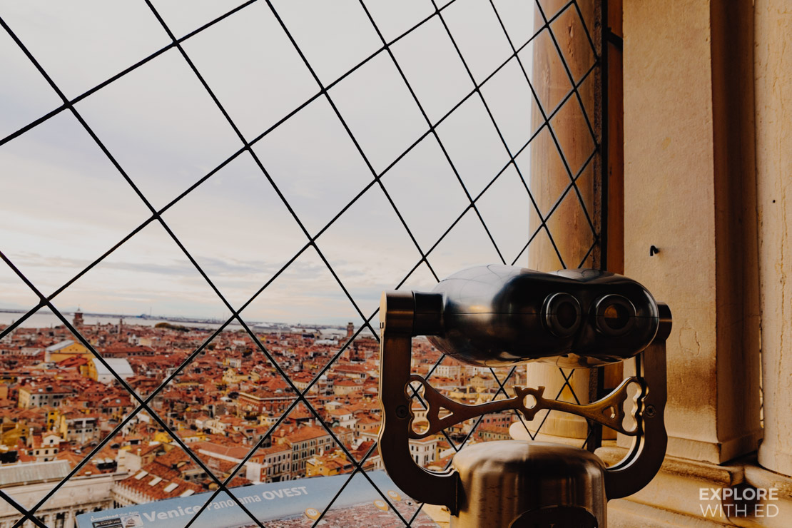 Binocular view looking west over Venice from the top of St Mark's Bell Tower