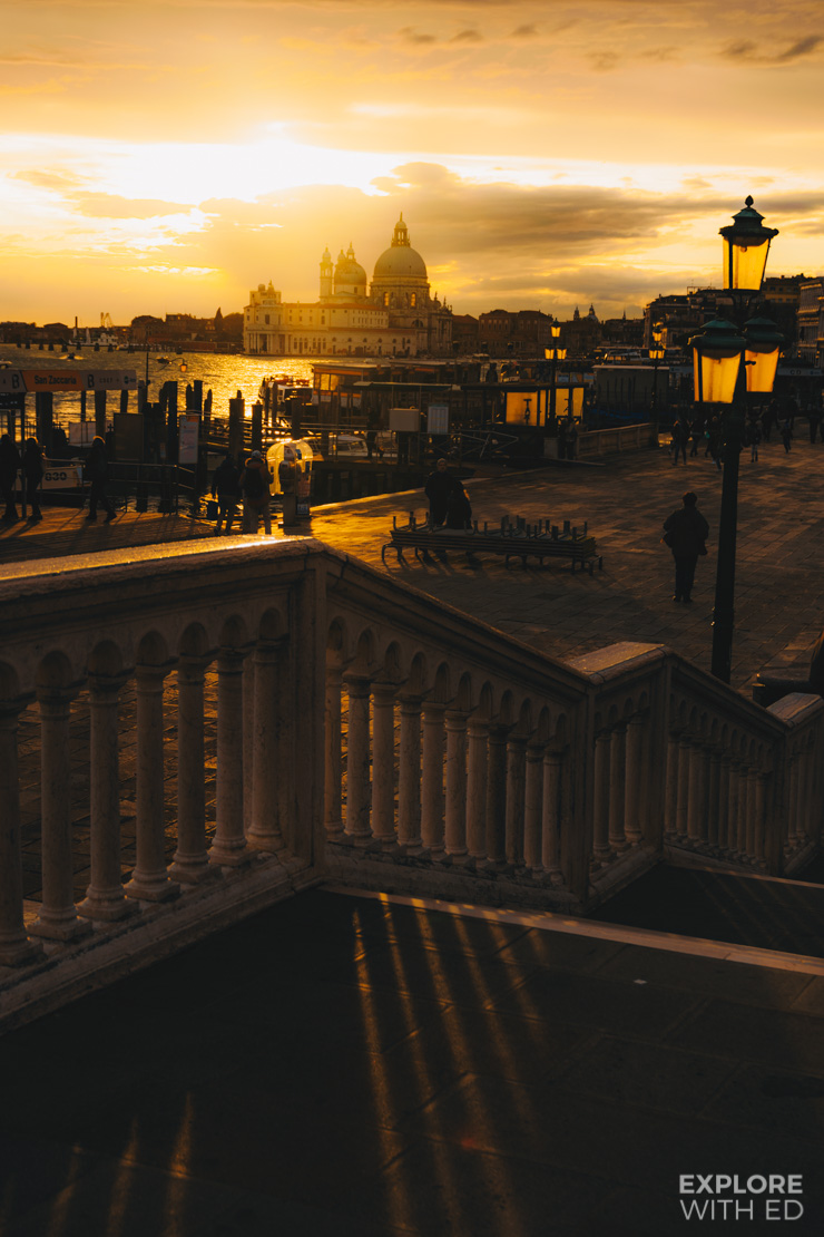 The golden hour in Venice looking towards Basilica di Santa Maria della Salute