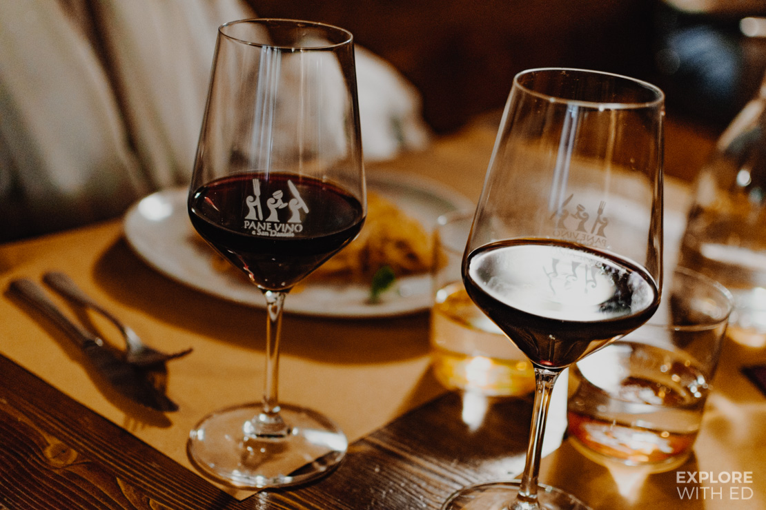 Pane Vino e San Daniele Red Wine and Pasta Meal