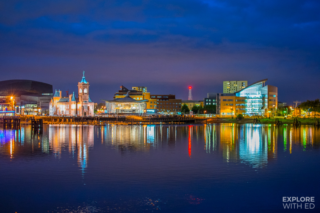 Cardiff Bay area at night