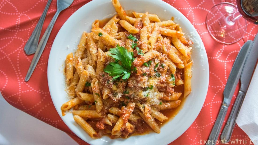 Pasta dish at Giovannis