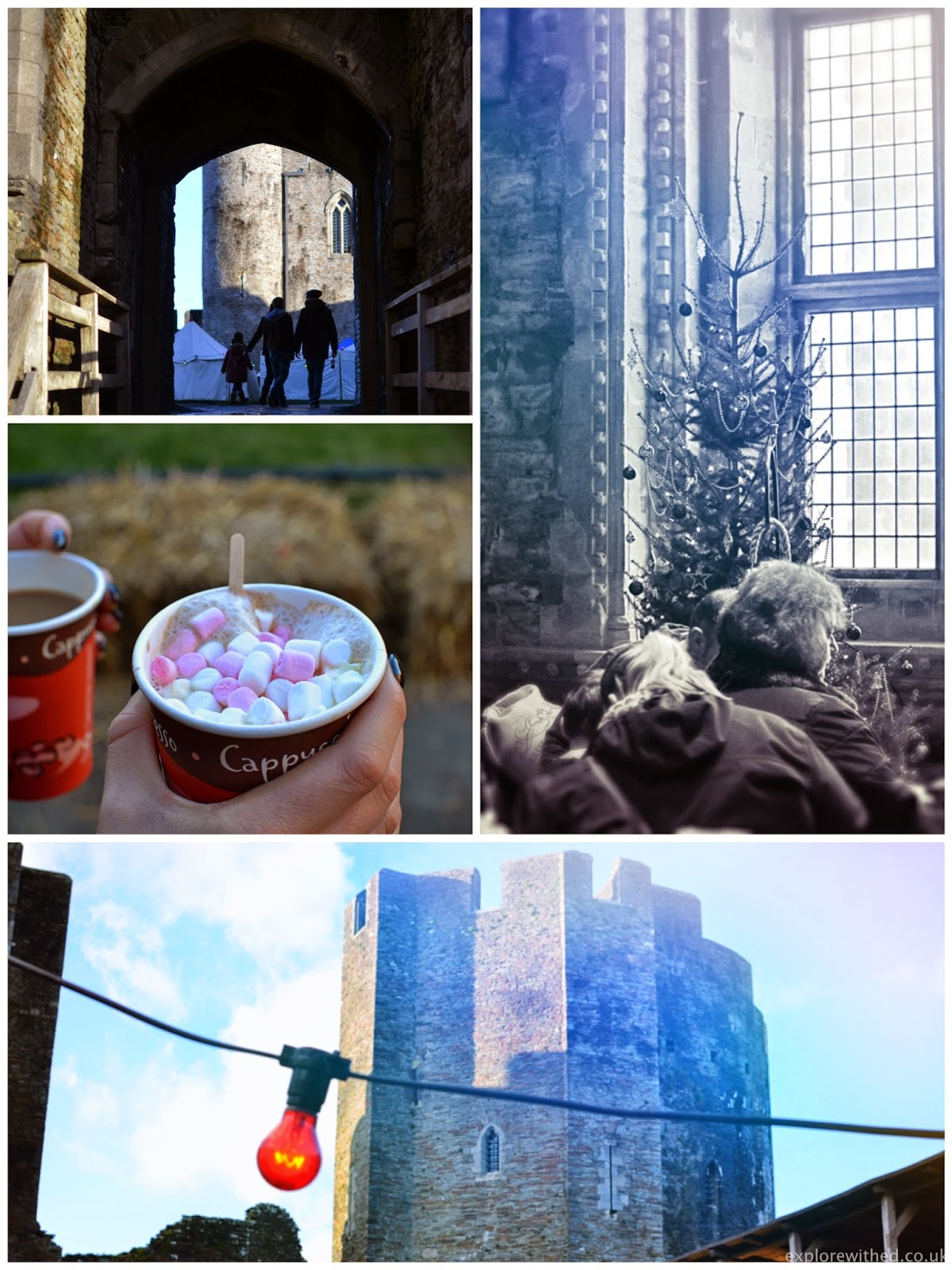 Christmas inside Caerphilly Castle with a hot chocolate