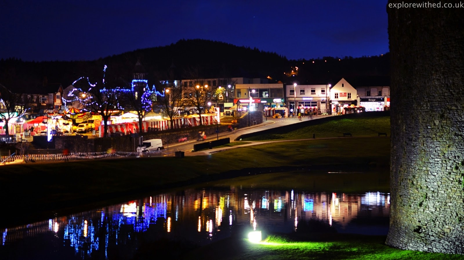 Christmas lights in Caerphilly
