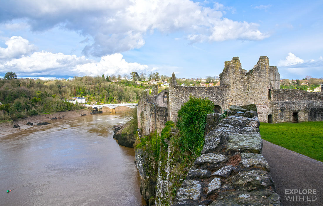 Chepstow Castle with a view of the river