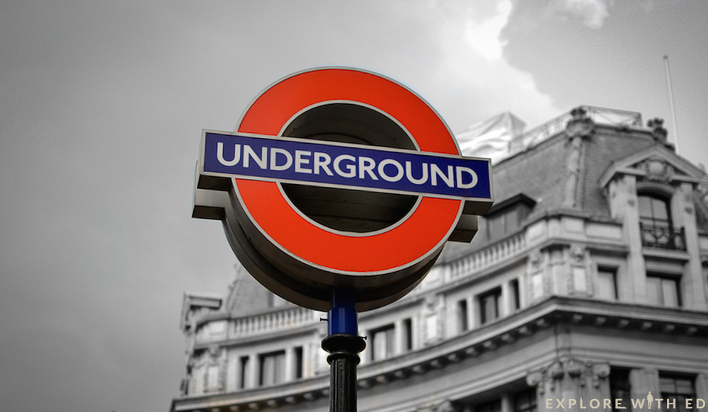 London Underground sign with black and white background